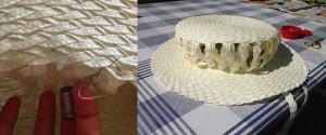 Jag fäste toppen i brättet, med den sicksackade flätan och sydde fast.