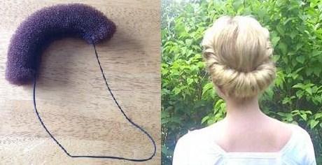 Till edwardiansk håruppsättning - klipp itu en hår-donut, sy fast ett elastiskt snöre. Trä över huvudet och vik om håret runt, et voilá!